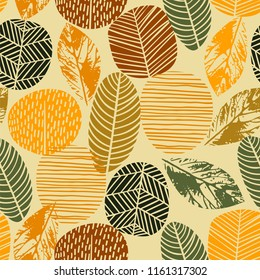 Abstract autumn seamless pattern with trees. Vector background for various surface. Trendy hand drawn textures.