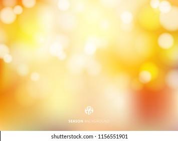Abstract autumn season blurred bokeh background. Vector illustration