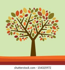 Abstract autumn tree illustration vector background