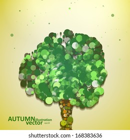 Abstract autumn tree illustration, vector background eps10