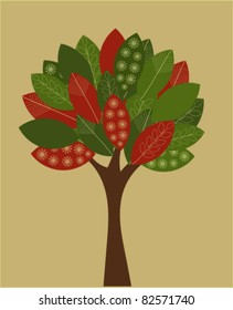 Abstract autumnal tree. Eco concept - vector illustration