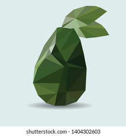 Abstract Avocado. Triangulation. Fresh isolated on white. With clipping path. Vector. Design element for the Internet, applications, analytics, promotion, marketing, SMM, CEO, business