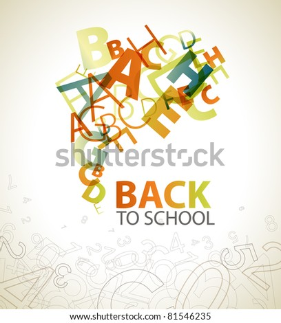 "Abstract ""Back to School"" background with retro colored letters"