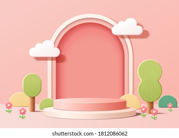 Abstract backdrop for product display, pink podium with trees and plants in 3d illustration - Shutterstock ID 1812086062