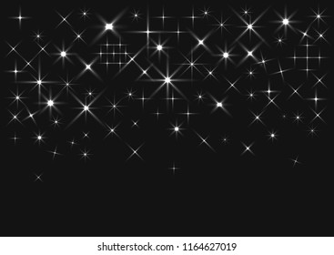 Abstract backgound of random falling silver stars. Elegant pattern for banner, greeting card, Christmas and New Year card, invitation, postcard, paper packaging. Vector illustration