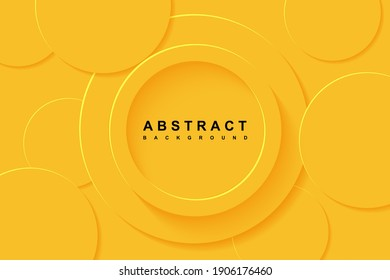 Abstract Background with 3d circle yellow papercut layer