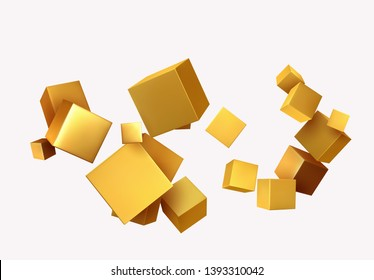 Abstract Background with 3d cubes gold color. Geometric object block, Pattern square.