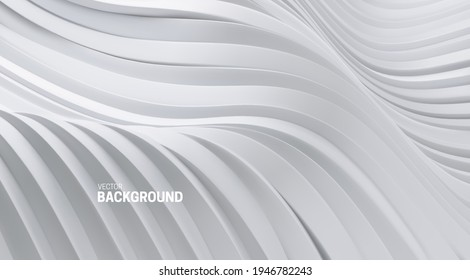 Abstract background with 3d curvy stripes. Wavy white ribbons backdrop. Soft elastic shapes. Vector illustration. Minimalist decoration for banner or cover design.