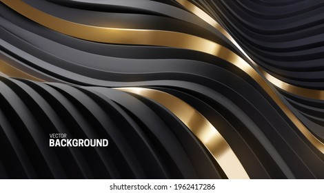 Abstract background with 3d curvy stripes. Wavy black and golden ribbons backdrop. Soft elastic shapes. Vector illustration. Minimalist decoration for banner or cover design.
