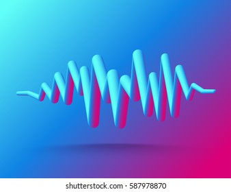 Abstract background. 3D Digital energy sound music equalizer. Vector illustration.