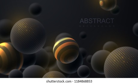 Abstract background with 3d dynamic spheres. Black bubbles. Vector illustration of balls textured with glittering paillettes and stripes. Modern cover concept. Decoration element for banner design