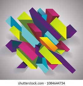 Abstract background with 3d figures, vector illustration.