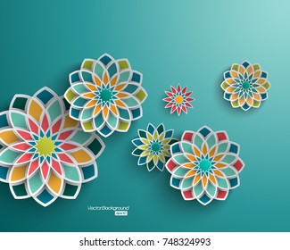 Abstract background with 3d floral elements