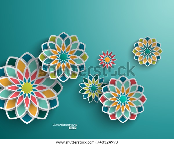 Abstract Background 3d Floral Elements Stock Vector Royalty