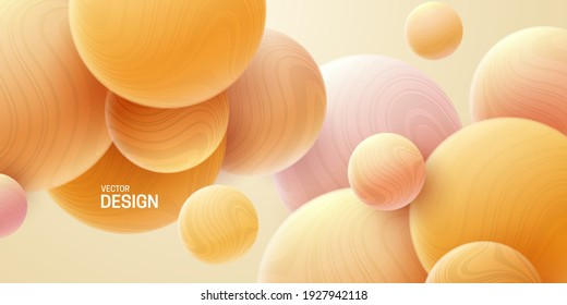 Abstract background with 3d marbled spheres. Orange soft bubbles. Vector illustration of balls textured with wavy striped pattern. Modern cover concept. Decoration element for banner design