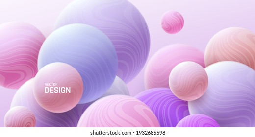 Abstract background with 3d marbled spheres. Pink and purple soft bubbles. Vector illustration of balls textured with wavy striped pattern. Modern cover concept. Decoration element for banner design