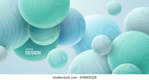Abstract background with 3d marbled spheres. Soft turquoise bubbles. Vector illustration of balls textured with wavy striped pattern. Modern cover concept. Decoration element for banner design