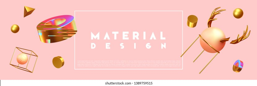 Abstract background with 3d objects. Realistic geometric shapes. Design mess, Chaos. Horizontal poster, cover headers, Banner website. vector illustration