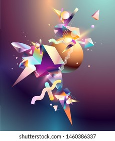 Abstract background  of 3D  primitive geometric shapes. Colorful design.