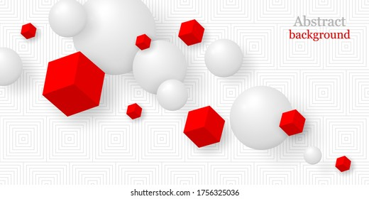Abstract background 3D. Realistic spheres and cubes. Geometric background. Vector illustration. Horizontal banner. Business template.