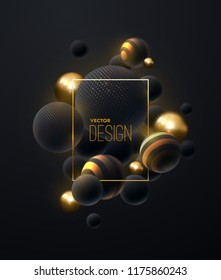 Abstract background with 3d spheres cluster. Golden and black bubbles. Vector illustration of balls textured with glittering paillettes and striped pattern. Vertical banner or poster design