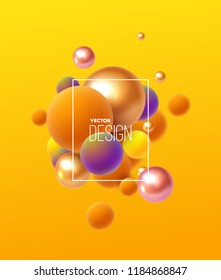 Abstract background with 3d spheres cluster. Multicolored bubbles on yellow and orange background. Vector illustration of balls textured with striped pattern. Modern trendy banner or poster design