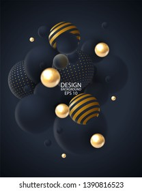 Abstract background with 3d spheres cluster. Golden and black bubbles. Vector illustration of balls textured with glittering paillettes and striped pattern.  Vertical banner or poster design - Vector