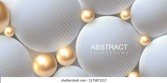 Abstract background with 3d spheres. Golden and white bubbles. Vector illustration of balls textured with halftone pattern. Jewelry cover concept. Horizontal banner. Decoration element for design