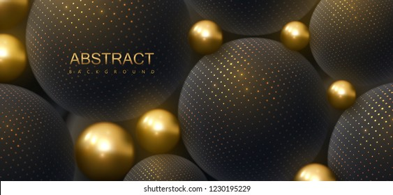 Abstract background with 3d spheres. Golden and black bubbles. Vector illustration of balls textured with glittering paillettes. Jewelry cover concept. Horizontal banner. Decoration element for design