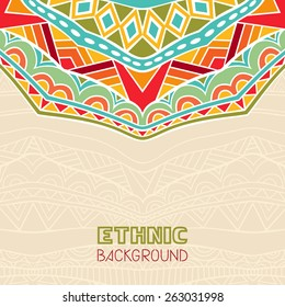 Abstract background with African ornament. Copy space. Template for greeting card, invitation or poster with ethnic pattern. Vector file is EPS8.