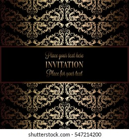 Abstract background with antique, luxury black and gold vintage frame, victorian banner, damask floral wallpaper ornaments, invitation card, baroque style booklet, fashion pattern, template for design