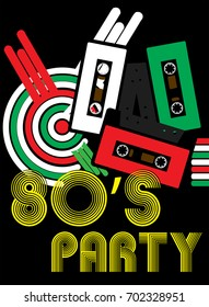 Abstract Background - Audio Tapes and 80s Party Sign