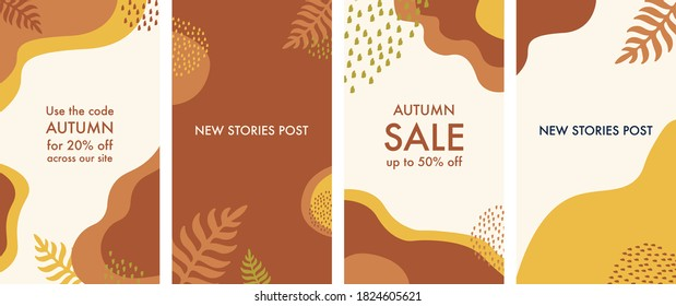 Abstract background autumn Design templates for social media posts and instagram stories, cards, posters with trendy design. Abstract shape with minimal design. Vector illustration.