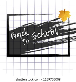 Abstract background back to school with school Board and maple leaf on notebook sheet. Vector illustration.