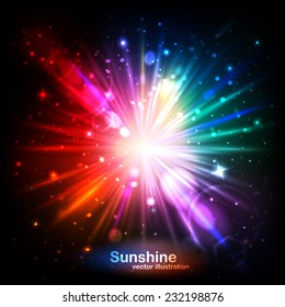 Abstract background, Beautiful rays of light. The bright sun, the glow and glare.Vector illustration can be used for web design, wallpapers, futuristic designs and banners.