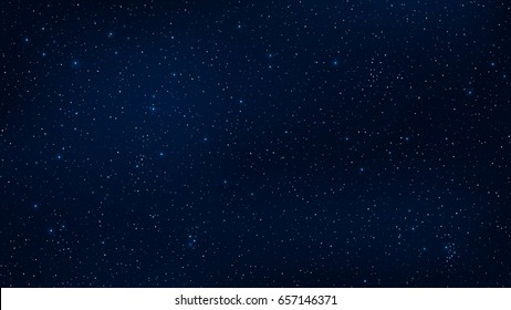 Abstract background. The beautiful starry sky is blue. The stars glow in complete darkness. Fantastic galaxy. Open space. Vector illustration. EPS 10