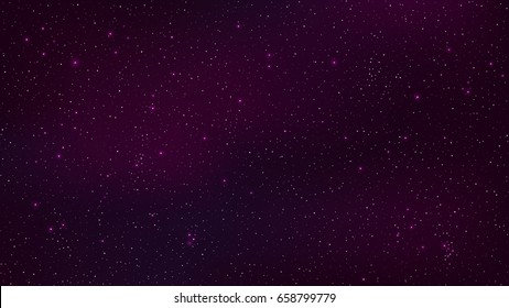 Abstract background. The beautiful starry sky is purple. The stars glow in complete darkness. Fantastic galaxy. Open space. Vector illustration. EPS 10