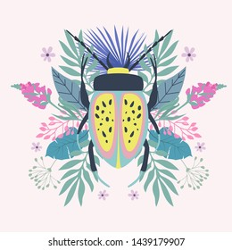 Abstract background with beetle and plants. Background in minimalistic style. Editable Vector illustration