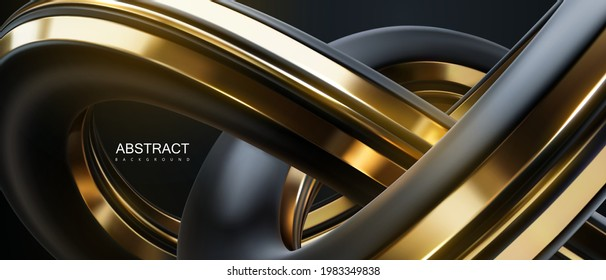 Abstract background with black and golden knot shape. Vector 3d illustration. Intertwined curvy shape. Futuristic loop. Banner or sign design. Modern cover template