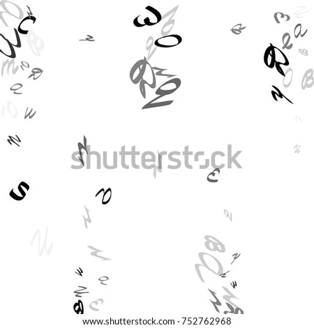 Abstract Background Black Handwritten Letters Isolated Stock Vector