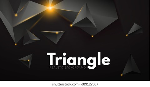 Abstract Background with Black Realistic Triangles and Gold Light Effects. 3D. Futuristic Space. Vector illustration