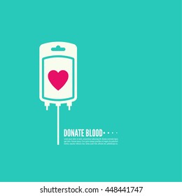 Abstract background with blood bag. Icon donation  with heart.