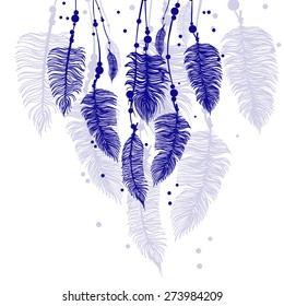 Abstract background with blue feathers and shadow. Vector EPS 10