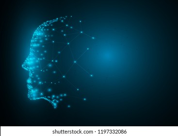Abstract background blue network face blue