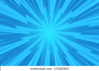 Abstract background. blue rays of light spread from the center in a comic style.