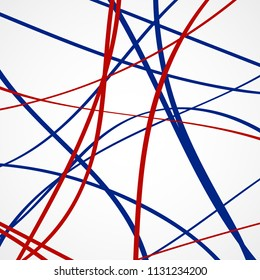 Abstract background of blue and red lines