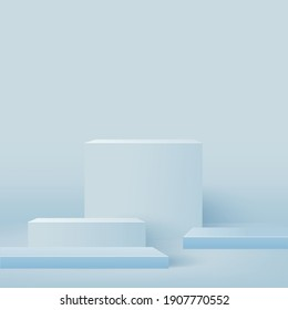 Abstract background with blue square geometric 3d podiums. Vector illustration.