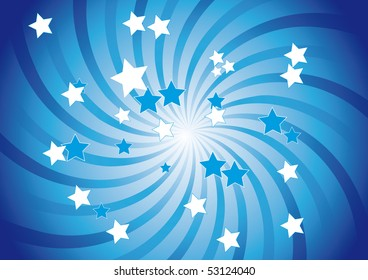 Abstract background in blue with  a swirl and stars