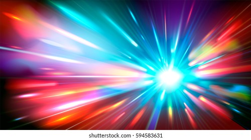 Abstract background with blurred magic neon color light rays. Vector illustration.