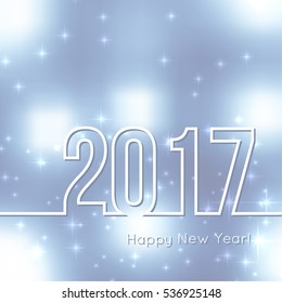 Abstract background with bokeh effect. Vector delicate backdrop. Happy New Year 2017.